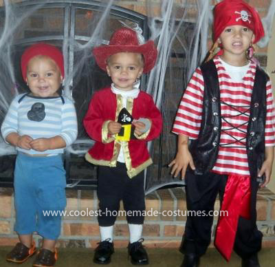 Homemade Pirate, Captain Hook, and Smee Costume with Pirate Ship