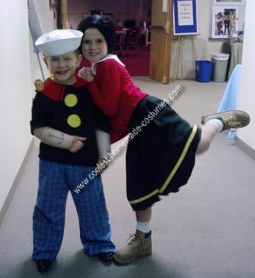 Homemade Popeye and Olive Oyl Child Couple Costume Idea
