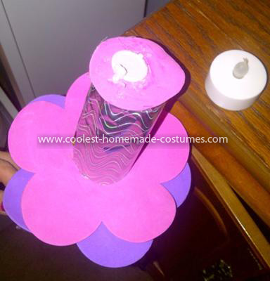 Coolest Pretty Pink Homemade Cupcake Costume - the other head piece...the lit up candle..