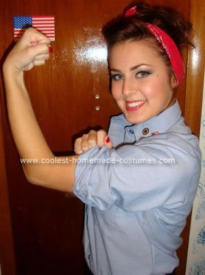 Homemade Rosie the Riveter DIY Halloween Costume Idea