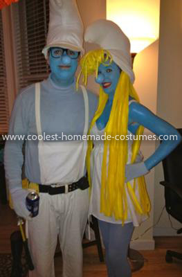 Homemade Smurfette and Handy Smurf Costumes