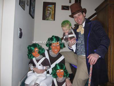 Homemade Willy Wonka and Oompa Loompa Family Costumes