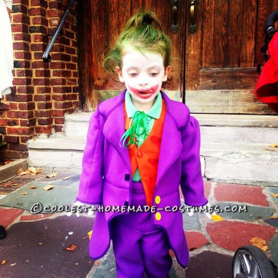 Fun Homemade Joker Costume for a Little Bat-Fan Girl