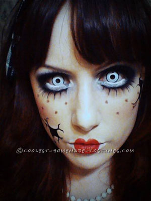 Creepy Doll Costume and Makeup for a Teenager