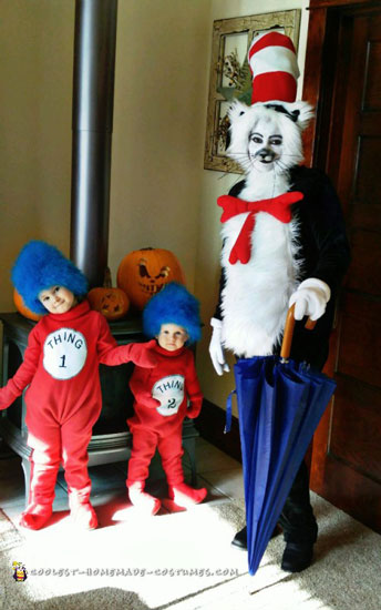 Coolest DIY Cat in the Hat and Thing 1 and 2 Costumes