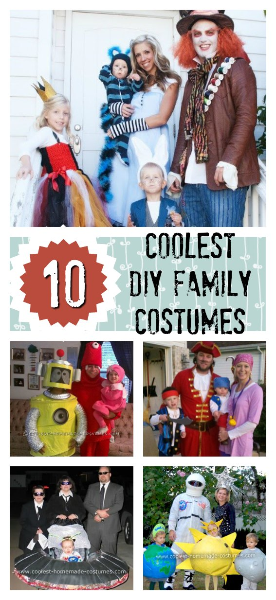 These family costume ideas will have you making an unforgettable entrance at any costume party or event throughout the year, but especially at Halloween. It's both FUN and rewarding to work together as a family, and share the memories of preparing and presenting a creative group effort to the world. So, if you plan to make Halloween a family affair this year, you'll find some impressive inspiration here.