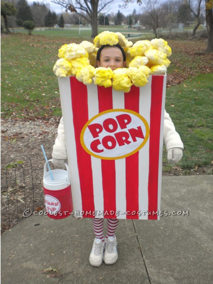 Coolest Popcorn Costume Made by an 11 Year Old Girl!