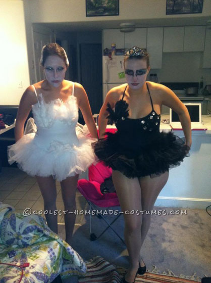 Homemade Black and White Swan Couple Halloween Costume