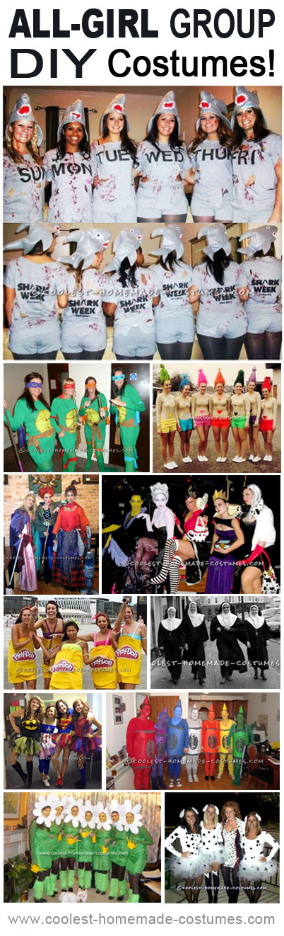These all-girl Halloween group costumes are a great place to start looking for DIY group costume inspiration. They lean more towards the original and funny over sexy.