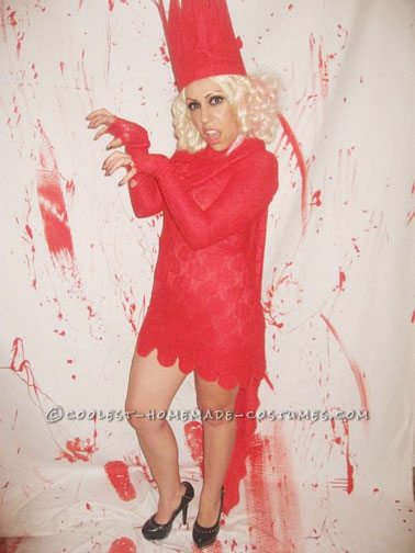 Cool Homemade Lady Gaga Red Lace Dress Costume