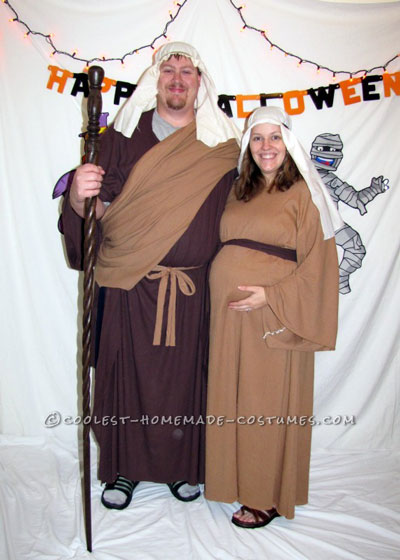 Homemade Mary and Joseph Pregnant Halloween Costumes