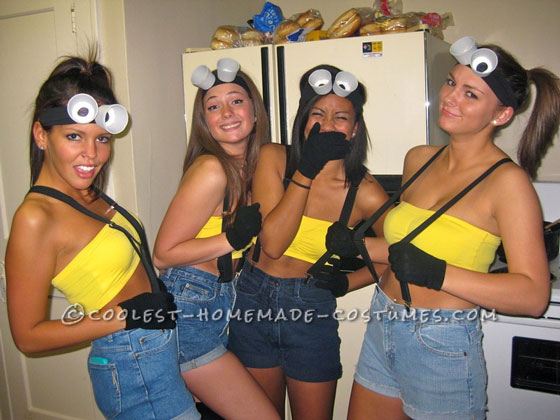 Easy and Cheap Homemade Girl Minion Group Costume